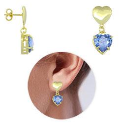 Brinco folheado a ouro c/ pedra em forma de coração (cor Light Saphire) - Clique para maiores detalhes