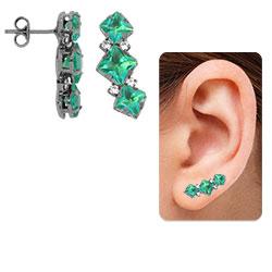 Brinco Ear Cuff c/ banho onix e pedras verdes - Clique para maiores detalhes