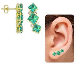 Brinco Ear Cuff folheado a ouro c/ pedras verdes - Clique para maiores detalhes