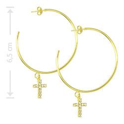 Brinco de argola folheado a ouro com crucifixo em strass - Clique para maiores detalhes