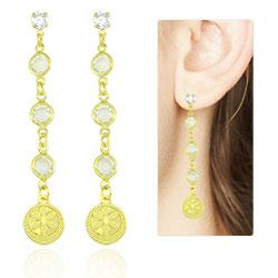 Brinco cascata Tiffany Inspired folheado a ouro com adereço redondo - Clique para maiores detalhes