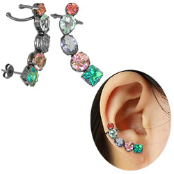 Brinco Ear Cuff com banho onix e pedras de vidro coloridas - Clique para maiores detalhes