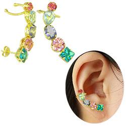 Brinco Ear Cuff folheado a ouro c/ pedras de vidro coloridas - Clique para maiores detalhes
