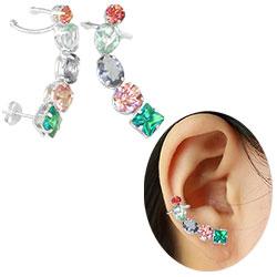 Brinco Ear Cuff folheado a prata c/ pedras de vidro coloridas - Clique para maiores detalhes