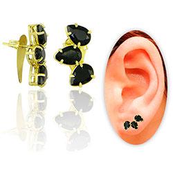 Brinco Ear Cuff folheado a ouro com pedras de vidro lapidado em forma de gota - Clique para maiores detalhes