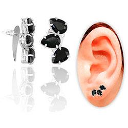 Brinco Ear Cuff folheado a prata com pedras de vidro lapidado em forma de gota - Clique para maiores detalhes