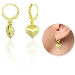 Brinco argolinha folheado a ouro com coração - Clique para maiores detalhes