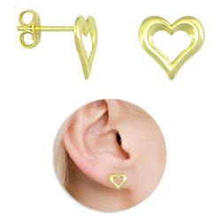Brinco folheado a ouro em forma de coração - Clique para maiores detalhes