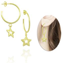 Brinco de argola folheado a ouro com pingente estrela - Clique para maiores detalhes