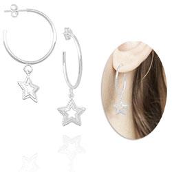 Brinco de argola folheado a prata com pingente estrela - Clique para maiores detalhes