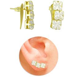 Brinco Ear Cuff folheado a ouro com pedras carrê de zircônia - Clique para maiores detalhes