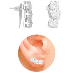 Brinco Ear Cuff folheado a prata com pedras carrê de zircônia - Clique para maiores detalhes