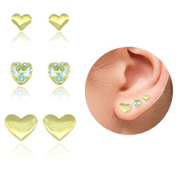 Kit com 3 pares de brinco de coração folheados a ouro - Clique para maiores detalhes