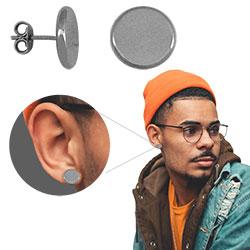 Brinco redondo masculino com banho onix (tamanho G) - Clique para maiores detalhes