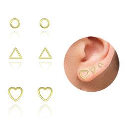 Kit com 3 pares de brinco folheados a ouro (círculo, coração e triângulo) - Clique para maiores detalhes