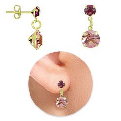 Brinco folheado a ouro com strass rosa e fucsia - Clique para maiores detalhes