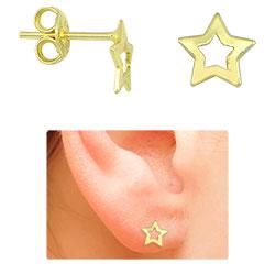 Brinco infantil folheado a ouro em forma de estrela - Clique para maiores detalhes