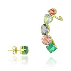 Brinco ear cuff folheado a ouro com pedras coloridas - Clique para maiores detalhes
