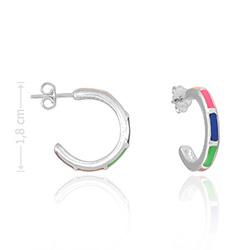 Brinco de argola rainbow folheado a prata tamanho P - Clique para maiores detalhes