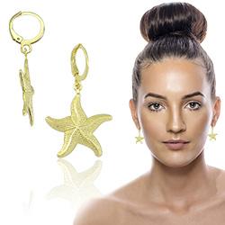 Brinco argolinha articulada folheado a ouro com estrela do mar - Clique para maiores detalhes