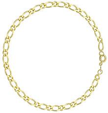 Pulseira masculina folheada a ouro com elos 1 x 1 - Clique para maiores detalhes