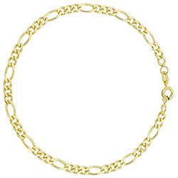 Pulseira masculina folheada a ouro c/ elos 3 x 1 - Clique para maiores detalhes
