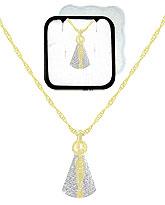 Gargantilha folheada a ouro c/ pingente de N. Sra. Aparecida e aplique prateado (acompanha caixinha em acrílico) - Clique para maiores detalhes