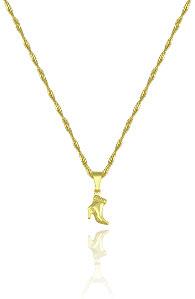 Gargantilha folheada a ouro e pingente em forma de bota (linha country) - Clique para maiores detalhes