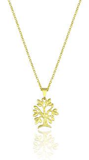 Gargantilha folheada a ouro e pingente em forma de árvore - Clique para maiores detalhes