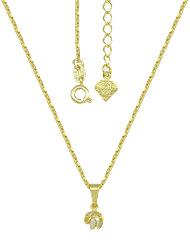 Gargantilha folheada a ouro e pingente torcidinho c/ pérola acrílica - Clique para maiores detalhes