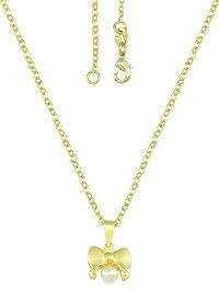 Gargantilha folheada a ouro e pingente em forma de laço c/ pérola - Clique para maiores detalhes