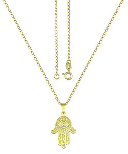 Gargantilha folheada a ouro e pingente Mão de Fátima - Clique para maiores detalhes
