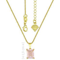Gargantilha folheada a ouro e pingente c/ pedra fusion retangular - Clique para maiores detalhes