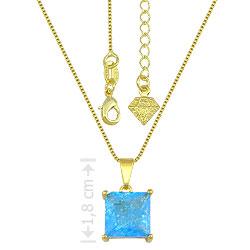 Gargantilha folheada a ouro e pingente c/ pedra fusion quadrada - Clique para maiores detalhes