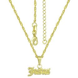 Gargantilha folheada a ouro e pingente Jesus - Clique para maiores detalhes