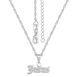 Gargantilha folheada a prata e pingente Jesus - Clique para maiores detalhes