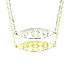 Gargantilha dupla folheada a ouro e prata c/ pingentes de chapa estampada - Clique para maiores detalhes