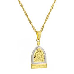 Gargantilha folheada a ouro c/ medalha da Mãe Rainha c/ aplique de prata - Clique para maiores detalhes