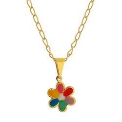 Gargantilha folheada a ouro e pingente em forma de flor c/ resina - Clique para maiores detalhes
