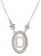 Gargantilha folheada a prata c/ corrente veneziana e medalha c/ a letra D rodeada de zircônias - Clique para maiores detalhes