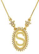 Gargantilha folheada a ouro c/ corrente veneziana e medalha c/ a letra S rodeada de zircônias - Clique para maiores detalhes