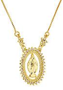 Gargantilha folheada a ouro c/ corrente veneziana e medalha de N. Sra. das Graças rodeada de zircônias - Clique para maiores detalhes