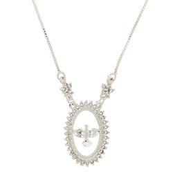 Gargantilha folheada a prata c/ corrente veneziana e medalha do Divino Espírito Santo rodeada de zircônias - Clique para maiores detalhes