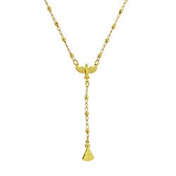 Gargantilha de bolinhas folheada a ouro c/ entremeio do Divino Espírito Santo e Imagem de N. Sra. Aparecida - Clique para maiores detalhes