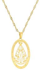 Gargantilha folheada a ouro e medalha de N. Sra. Aparecida c/ detalhes vazados - Clique para maiores detalhes