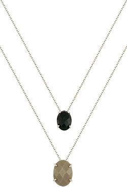 Gargantilha dupla folheado a prata c/ duas pedras acrílicas ovais - Clique para maiores detalhes