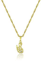 Gargantilha folheada a ouro e pingente em forma de cisne c/ zircônias - Clique para maiores detalhes