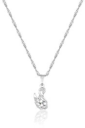 Gargantilha folheada a prata e pingente em forma de cisne c/ zircônias - Clique para maiores detalhes