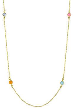 Gargantilha longa folheada a ouro c/ pedras acrílicas coloridas - Clique para maiores detalhes