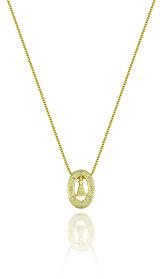 Gargantilha folheada a ouro e pingente de N. Sra. Aparecida c/ zircônias - Clique para maiores detalhes
